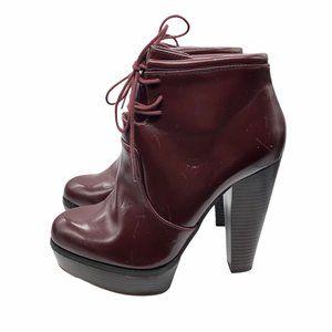 Zara Trafuluc Oxblood Platform Boots Stacked Heel
